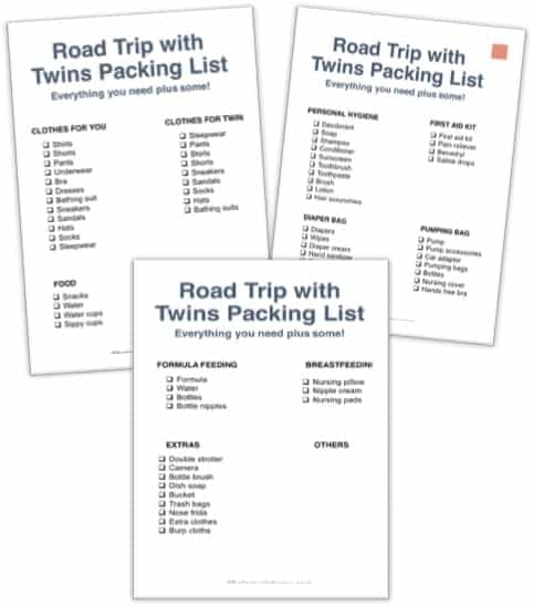 packing printable for road trip with twins