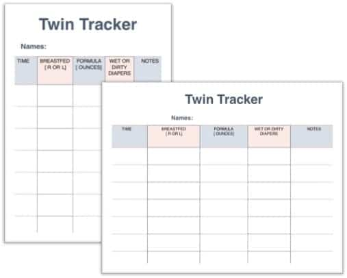 twin daily feeding and diaper chart